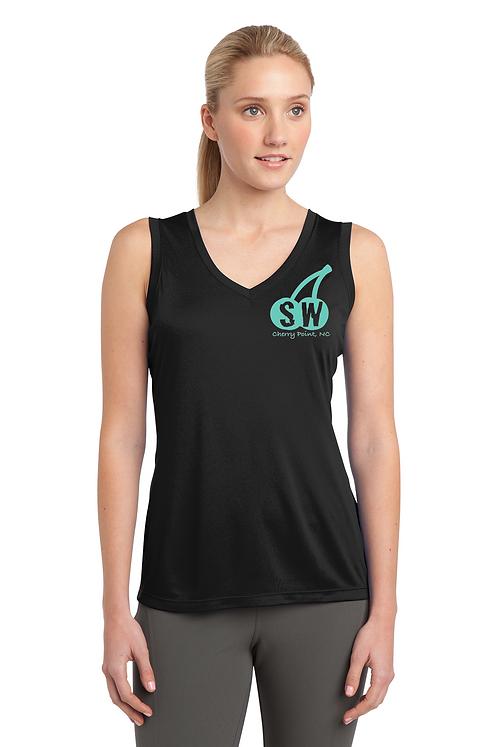 Black Sport-Tek® Ladies Sleeveless V-Neck Tank