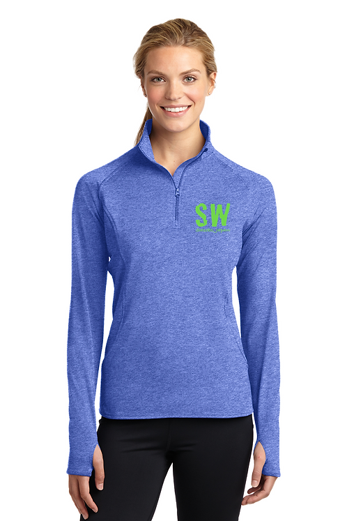 True Royal Heathered Sport Tek Ladies Sport Wick Stretch 1/4 zip pullover