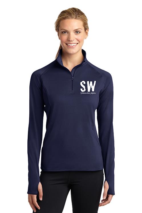 Navy blue Sport Tek Ladies Sport Wick Stretch 1/4 zip pullover