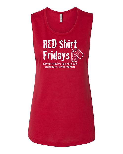 Red Bella + Canvas - Women's Flowy Scoop Muscle Tank