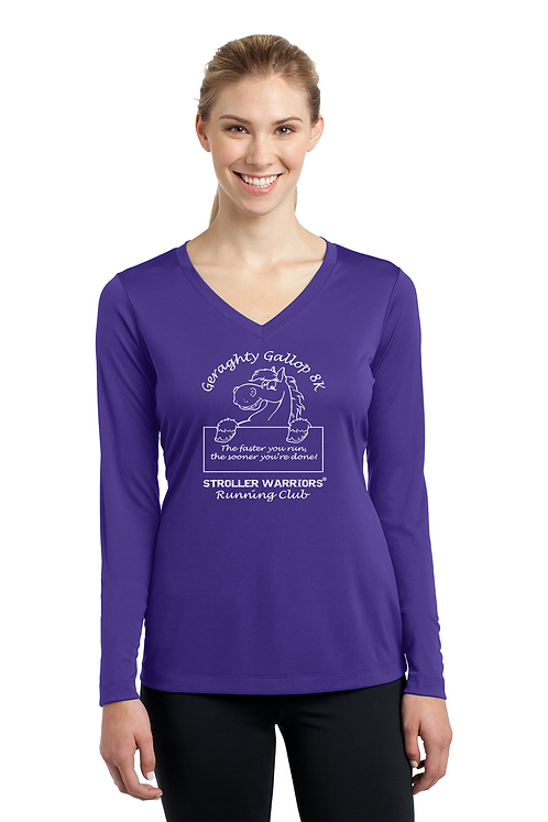 Purple Sport Tek Ladies Long Sleeve PosiCharge Competitor V-Neck