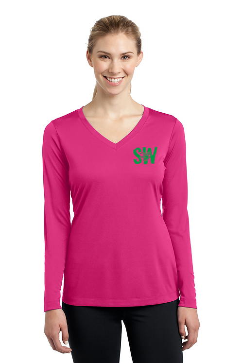 Pink raspberry Sport Tek Ladies Long Sleeve PosiCharge Competitor V neck