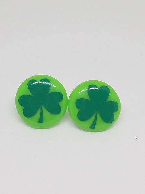 Shamrock Earrings, St Patricks Day Earrings, Lucky