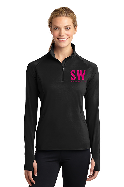 Black Sport Tek Ladies Sport Wick Stretch 1/4 zip pullover