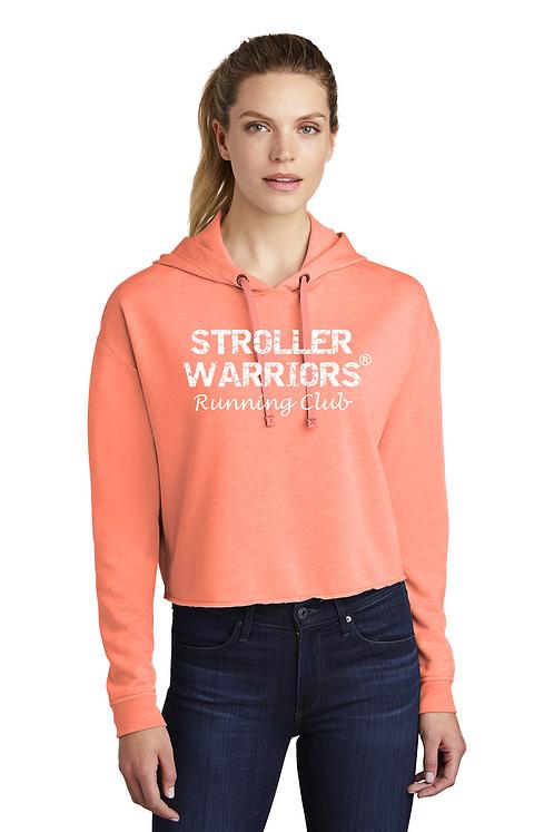Coral Sport-Tek ® Ladies PosiCharge ® Tri-Blend Wicking Fleece Crop Hooded Pullo