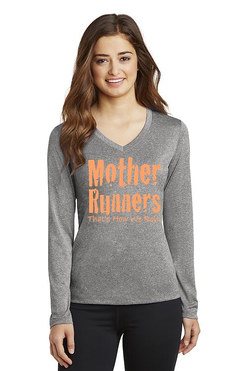Vintage heather Sport-Tek® Ladies Long Sleeve Heather Contender™ V-Ne