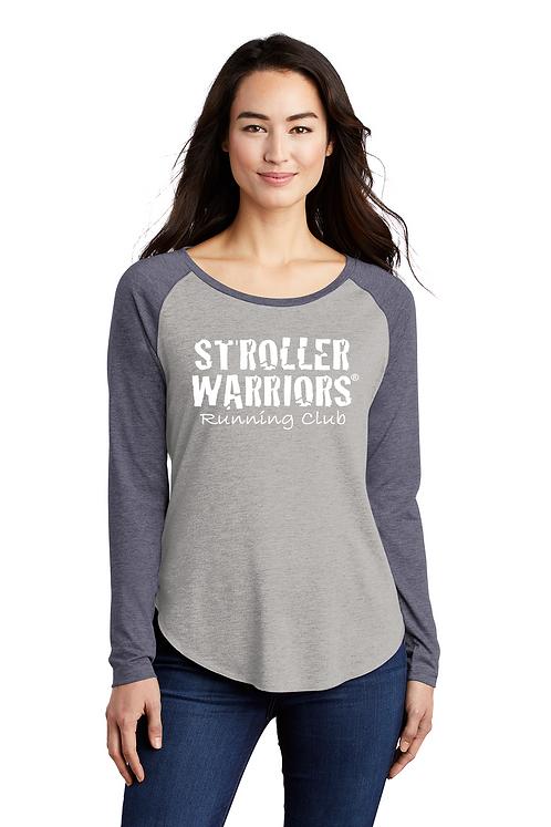 Navy heather Sport-Tek ® Ladies PosiCharge ® Long Sleeve Tri-Blend Wi