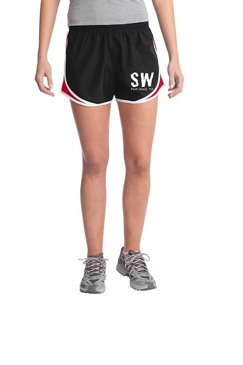 Black and Red Sport-Tek® Ladies Cadence Short
