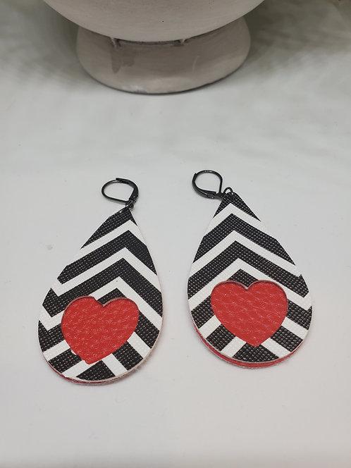 Faux leather teardrop earrings