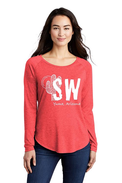 Heather Red Sport-Tek ® Ladies PosiCharge ® Long Sleeve Trip-blend