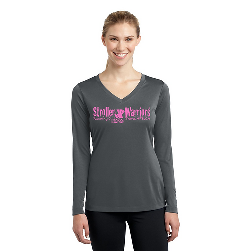 Iron Grey Sport Tek Ladies Long Sleeve PosiCharge Competitor V-Neck
