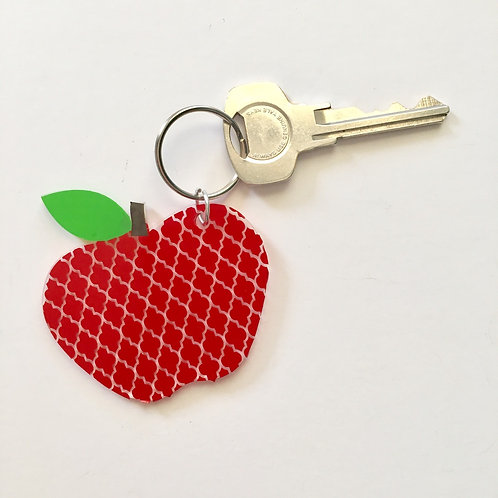 Apple Keychain, Monogram,Teacher Gift