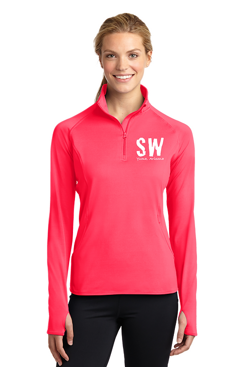Hot Coral Sport Tek Ladies Sport Wick Stretch 1/4 zip pullover