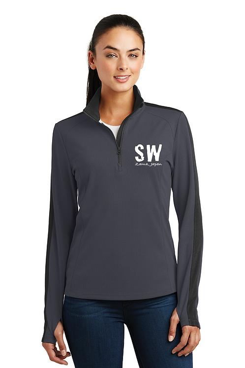 Iron gray  & black Sport-Tek® Ladies Sport-Wick® Textured Colorblock 1/4-Zip Pul
