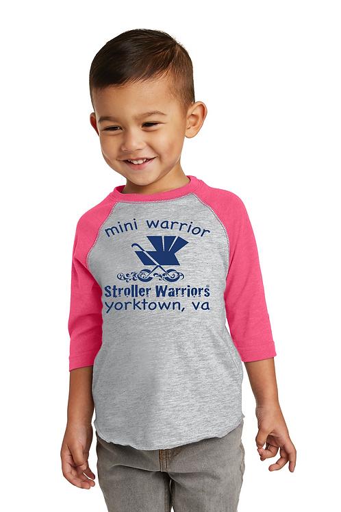 Vintage hot pink Rabbit Skins™ Toddler Baseball Fine Jersey Tee