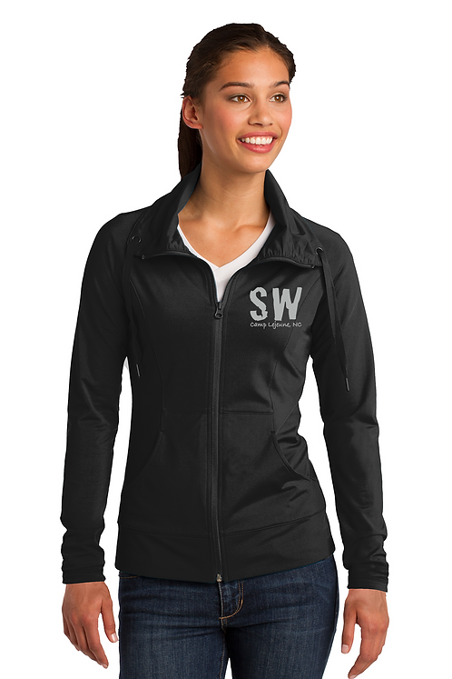 Black Sport-Tek Ladies Sport-Wick Stretch Full-Zip Jacket