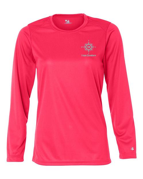 Hot Coral Badger - B-Core Women's Long Sleeve T-Shirt