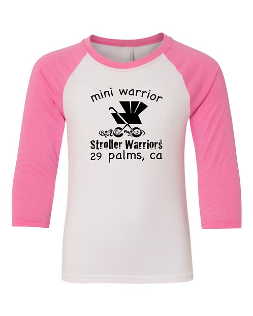 Hot pink & white Next Level - Youth CVC Three-Quarter Sleeve Raglan T-Shirt
