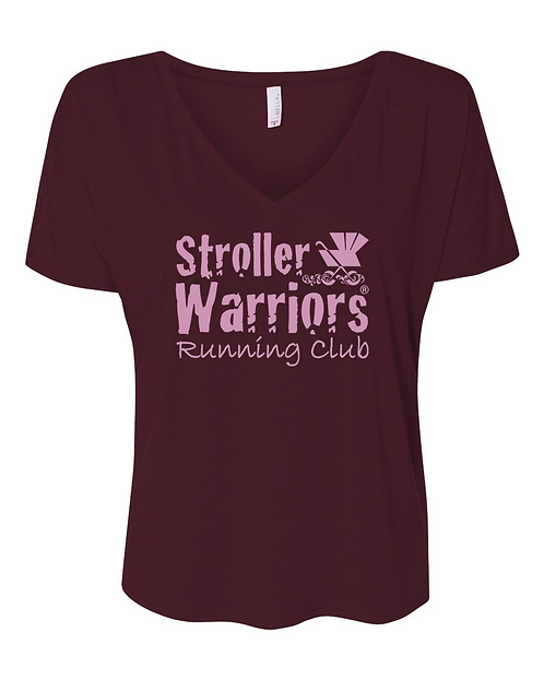 Maroon Bella + Canvas - Women's Slouchy V-neck Tee