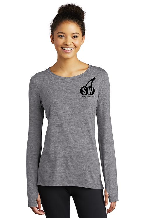 Grey heatherSport-Tek® Ladies Exchange 1.5 Long Sleeve Crew