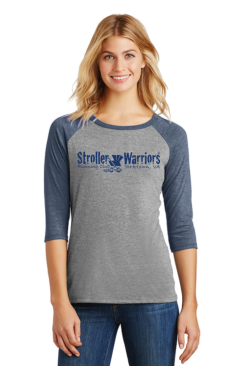 Navy  Frost District Made® Ladies Perfect Tri® 3/4-Sleeve Raglan