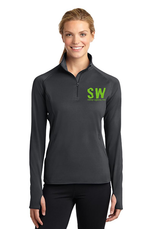 Charcoal Gray Sport Tek Ladies Sport Wick Stretch 1/4 zip pullover