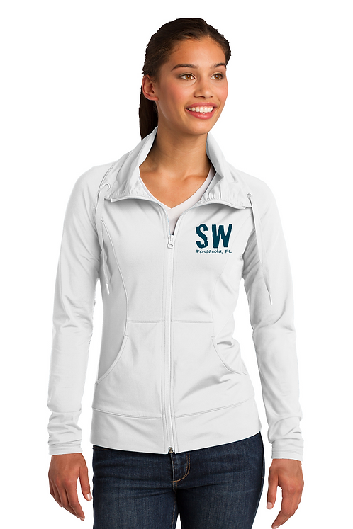 White Sport-Tek Ladies Sport-Wick Stretch Full-Zip Jack