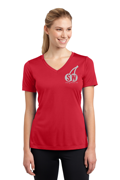 True Red  Ladies Sport Tek PosiCharge Competitor Tee V Neck