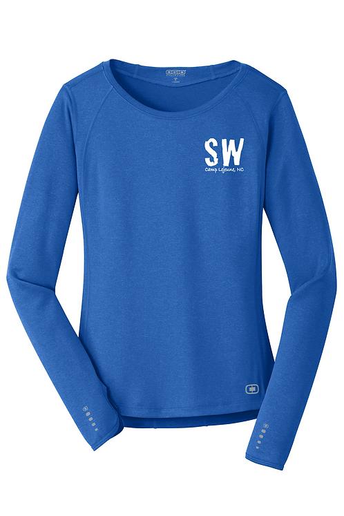 Electric Blue OGIO® ENDURANCE Ladies Long Sleeve Pulse Crew.