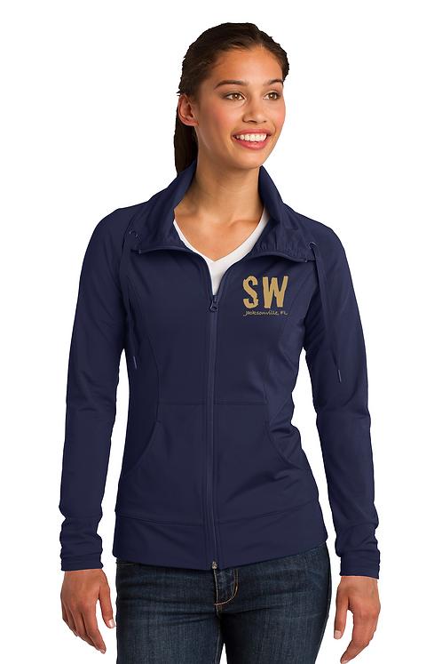 Navy Sport-Tek Ladies Sport-Wick Stretch Full-Zip Jack