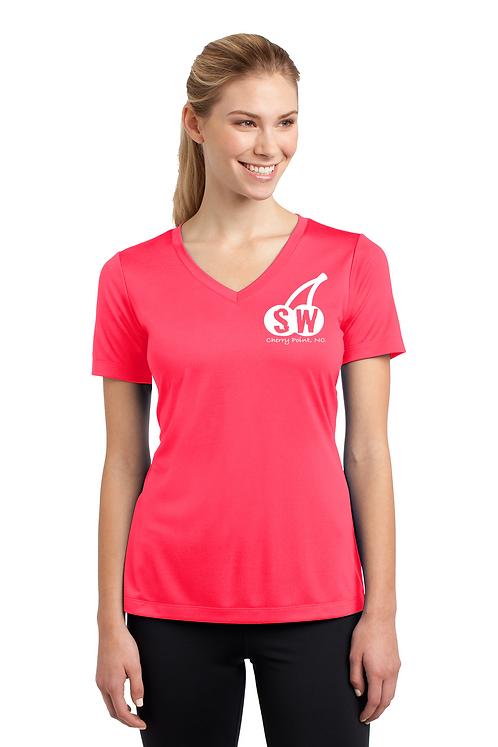 Hot Coral Sport-Tek® Ladies PosiCharge® Competitor™ V-Neck Tee