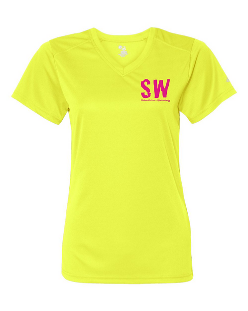 Ramstein Safety Yellow Badger - B-Core Women's V-Neck Tee