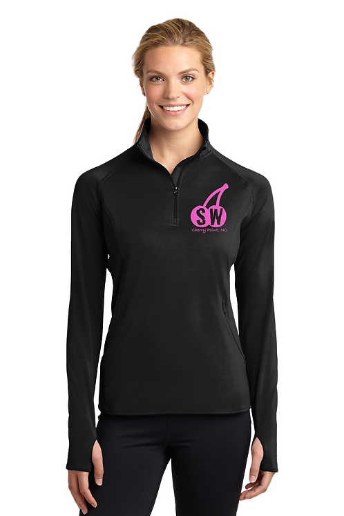 Black Sport Tek Ladies Sport Wick Stretch 1/4 zip pullover