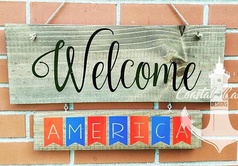 Welcome Holiday Hanger Wooden Sign, 4 Hanger