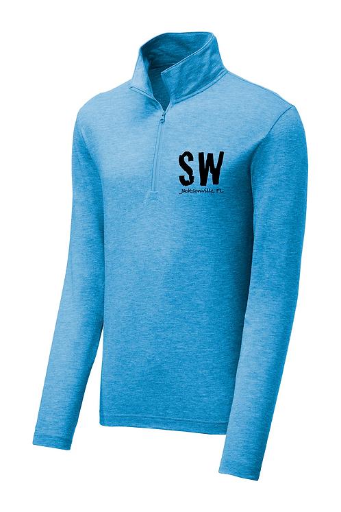 Pond blue Sport-Tek ® PosiCharge ® Tri-Blend Wicking 1/4-Zip Pullover