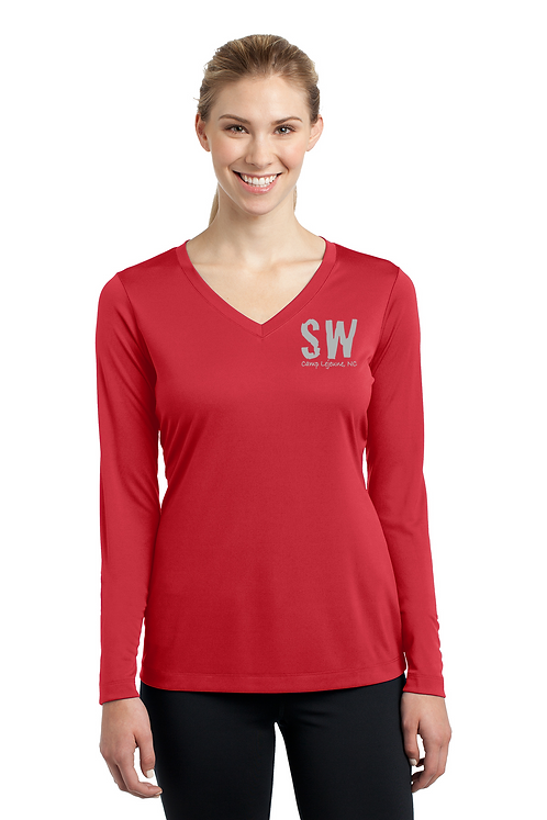 True Red Sport Tek Ladies Long Sleeve PosiCharge Competitor V-Neck