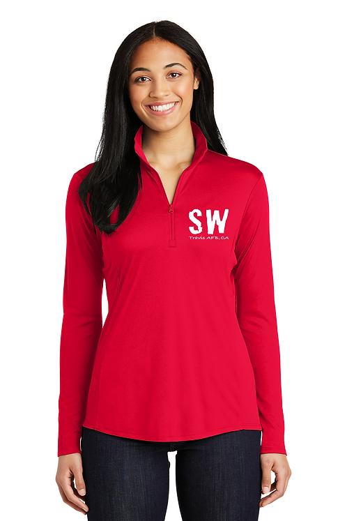 Red Sport-Tek® Ladies PosiCharge® Competitor™ 1/4-Zip Pullove
