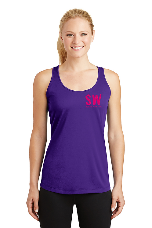 Travis AFB Purple Sport Tek Ladies PosiCharge Competitor Racerbank Tank