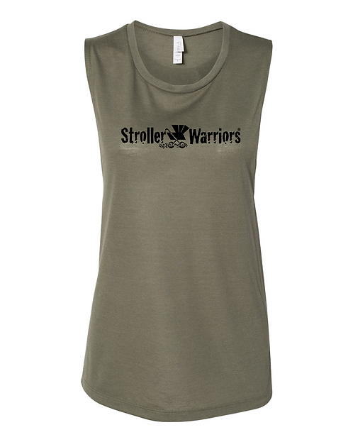 Olive triblend Bella + Canvas - Women's Flowy Scoop Muscle Tank
