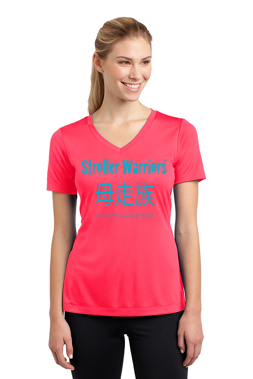 Hot Coral Sport-Tek® Ladies PosiCharge® Competitor™ V-Neck Tee