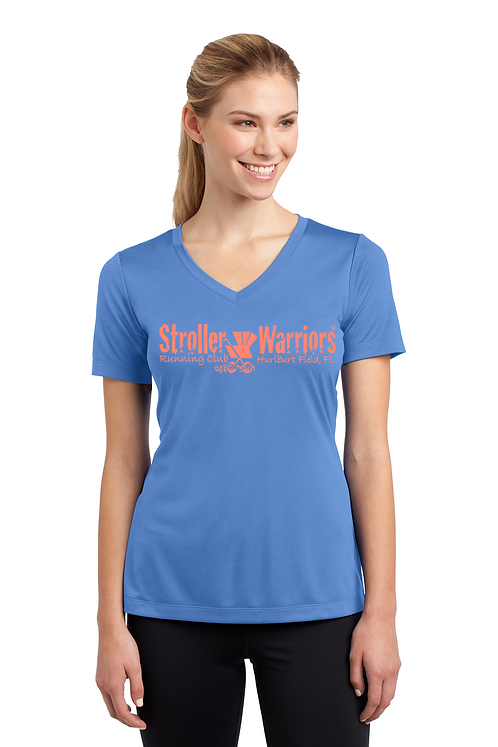 Carolina Blue Ladies Sport Tek PosiCharge Competitor Tee V Neck