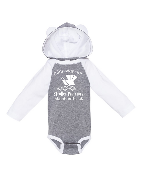 Gray and white Rabbit Skins - Fine Jersey Infant Character Hooded Long Sleeve Bo