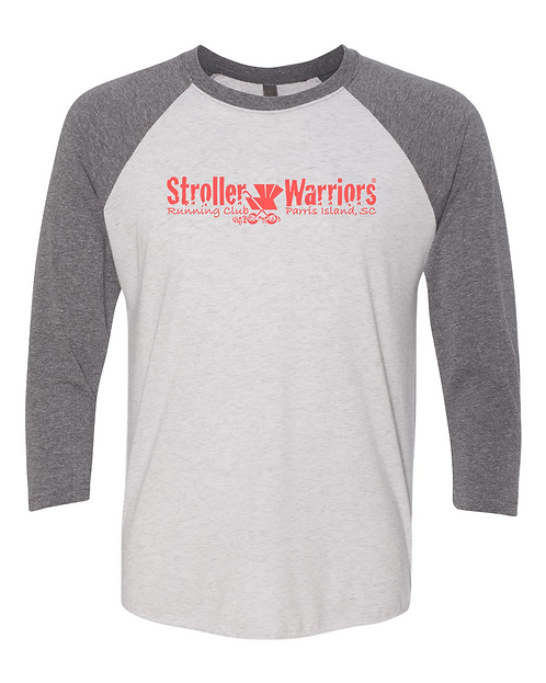 Premium Heather &  Heather white Next Level 3/4 Sleeve Gray