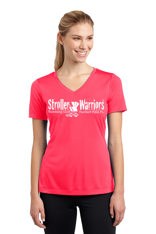 Hot Coral Ladies Sport Tek PosiCharge Competitor Tee V Neck