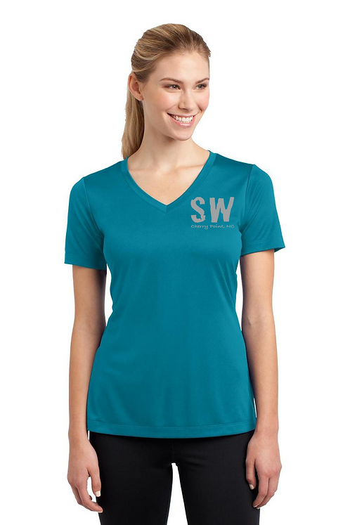 Tropic Blue Ladies Sport Tek PosiCharge Competitor Tee V Neck