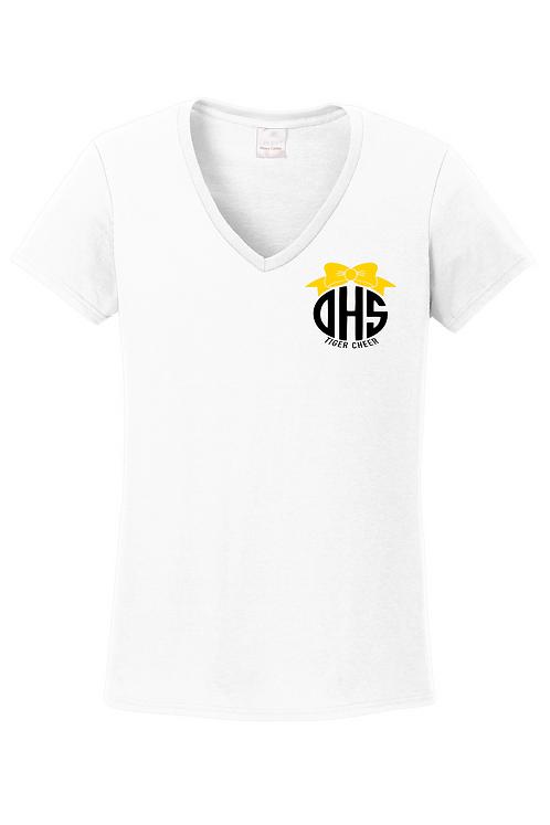White Gildan® Ladies Heavy Cotton™ 100% Cotton V-Neck T-Shirt.