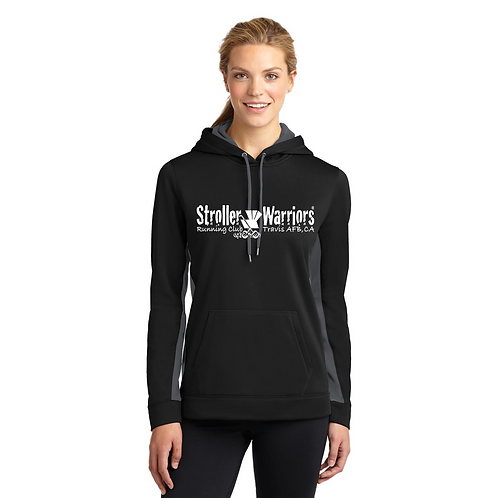Black/Dark Gray Sport-Tek® Ladies Sport-Wick® Fleece Colorblock Hooded Pullover