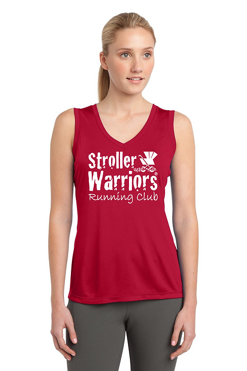 True Red Sport Tek Sleeveless PosiCharge Competitor V Neck