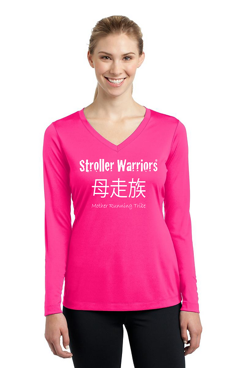 Neon pink Tek Ladies Long Sleeve PosiCharge Competitor V-Neck