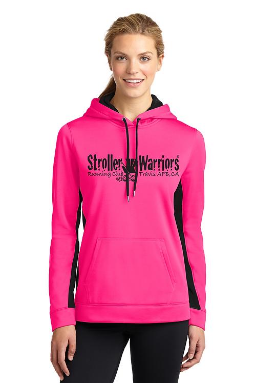 Neon Pink/Black Sport-Tek® Ladies Sport-Wick® Fleece Colorblock Hooded P